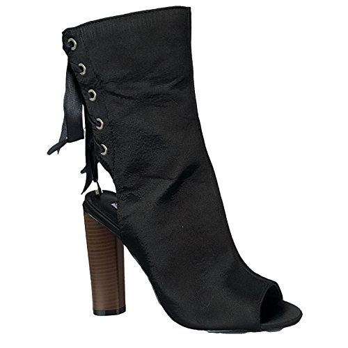 CAPE ROBBIN Women Open Toe Ankle Strap Back Lace up connie-50 Black jpPyka