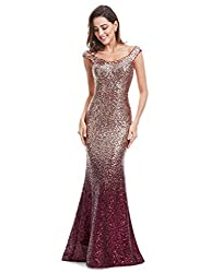 Ever-Pretty Women Sparkling Gradual Champagne Gold Sequin Mermaid Cap Sleeves Evening Dress Prom Dress 08999