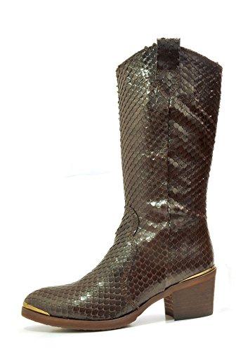 Anaconda cuero mujeres 37 serpiente con Botas de para EU estampado occidental MIRALLES PEDRO 21069 marrón de xSwqBnY5PF