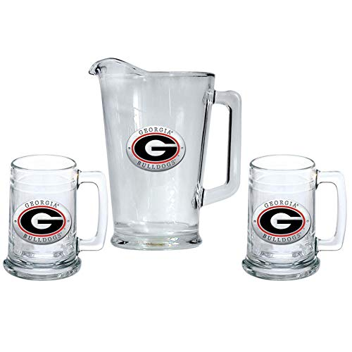 Heritage Metalwork Georgia Bulldogs UGA Pitcher and 2 Stein Glass Set Beer Set by Heritage Metalwork