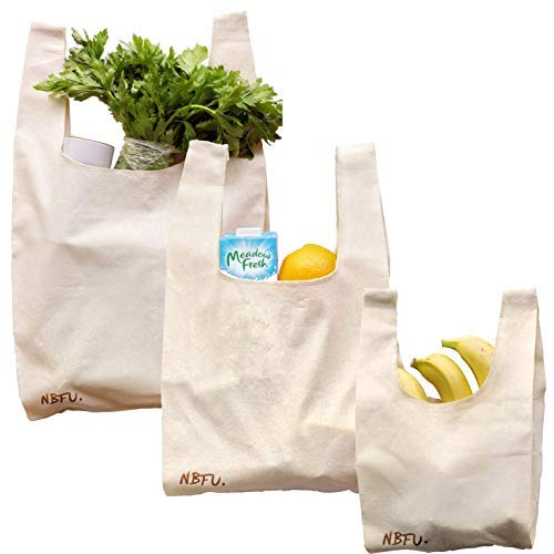 ((Set Of 3) Eco Friendly Reusable Bags Organic Cotton T-Shirt Tote Grocery Market And Beach Bags For Shopping, Beach Trips, Picnics, Tailgates, School, Gym, Toy)