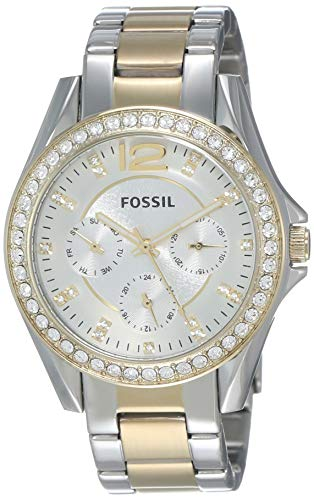 Silver Yellow Wrist Watch - Fossil Women's Riley Quartz Two-Tone Stainless Steel Chronograph Watch, Color: Silver, Gold (Model: ES3204)