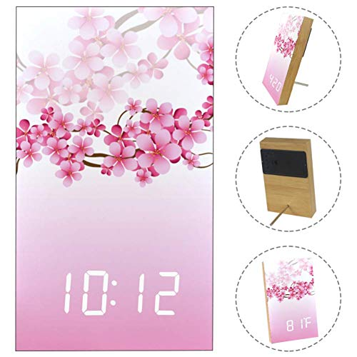 - Home Digital Alarm Clock Pink Branch Cherry Blossom Print,USB Charging Port, Sleep Timer,Snooze Battery Backup Bedrooms with LED White Display