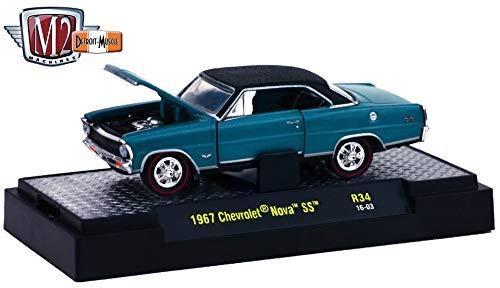 M2 Machines 1967 Chevrolet Nova SS (Emerald Turquoise Metallic) - Detroit Muscle Release 34 2016 Castline Premium Edition 1:64 Scale Die-Cast Vehicle (R34 16-03)