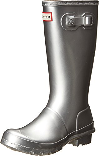 Hunter Kids Original Kids Metal Silver Rain Boot - 4 (Kids Hunter Wellies)