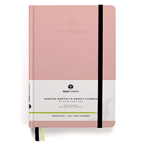Palm Planner - Undated Monthly and Weekly Agenda to Achieve Goals and Happiness, Vision Board, Smart Goals and an Action Plan to Boost Productivity in 2019 - Full Year (Hardcover-Pink) - Horizontal Monthly Pocket Planner