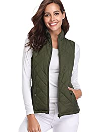Women's Stand Collar Lightweight Padded Zip Vest Quilted...