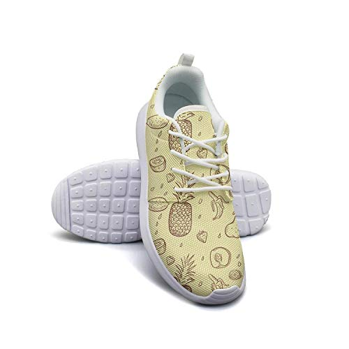 Pineapple banana fruits pattern white Ladies Sneakers for Women customize Lightweight Run - Milk Light Banana Muscle