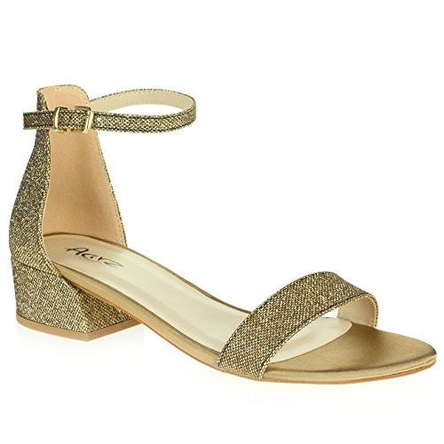 AARZ LONDON Women Ladies Sparkly Evening Wedding Party Bridal Prom Platform Block Heel Sandals Shoes Size Brown