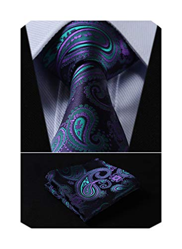 HISDERN Men's Floral Paisley Jacquard Woven Tie Necktie Set 8.5 cm / 3.4 inches in Width Navy Blue/Green/Purple