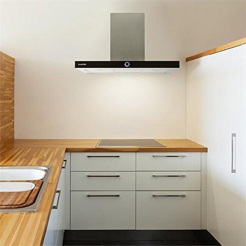 Klarstein Matthea Campana extractora de cocina - Hasta 541 m³/h Capacidad extracción, 90 cm, Programable, Iluminación LED, Frontal cristal negro, Acero inoxidable: Amazon.es: Hogar