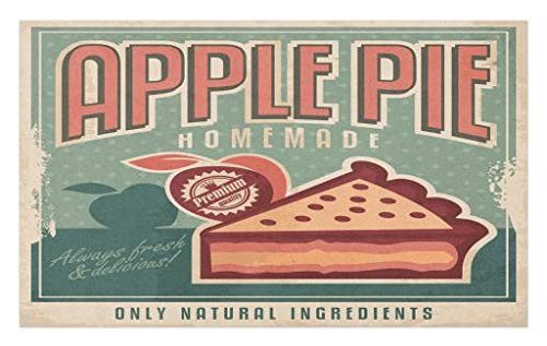 Pattern Background - Lunarable Retro Doormat, Homemade Vintage Apple Pie Advert with a Slice on Grunge Rhombus Pattern Background, Decorative Polyester Floor Mat with Non-Skid Backing, 30 W X 18 L Inches, Multicolor