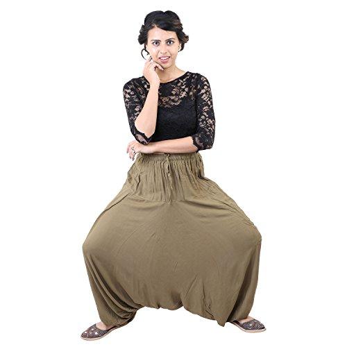 Cotton Plain Yoga Meditation Ali Baba Afghani Trouser Harem Pants for Mens & Womens (Light Mehandi Green)