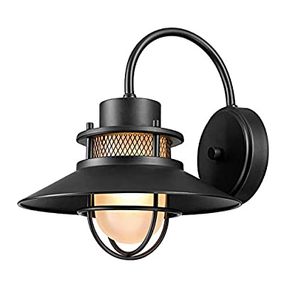Globe Electric Liam 1-Light Outdoor Wall Sconce, Matte Black, Frosted White Glass Shade 44233 - Rustic design: Black with a Matte finish mixes with a coastal design and frosted glass shade to elevate the Liam outdoor/indoor wall sconce to the epitome of rustic design that complements any decor Frosted glass shade: the frosted glass shades emit warm, diffused light perfect for making your space comfortable and relaxing Versatile: a perfect piece for any area of your home, the Liam wall sconce is ideal for outside or inside use and adds distinctive style anywhere you place it - patio, outdoor-lights, outdoor-decor - 41bwd F7UYL. SS400  -