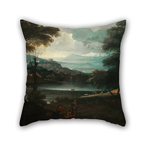 MaSoyy Throw Pillow Covers Of Oil Painting Giovanni Francesco Grimaldi - Landscape With Resting Shepherds 20 X 20 Inches / 50 By 50 Cm Best Fit For Dance Room Couch Kids Girls Dance Room Couples (Resting Queen Frog)