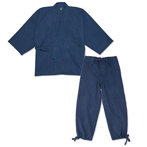 wasuian Men's Samue Work Clothes Indigo Dyed Stitched Large Dark Navy