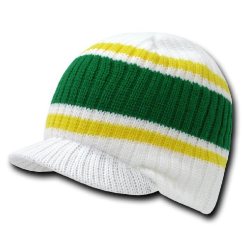 - DECKY Striped Campus Jeep Cap (One Size, White)