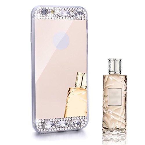 För Iphone 6 / 6s Plus 5.5inch Sunfei ®bling Diamant Spegel Tillbaka Tpu Mjuk Fallet Täcker Guld