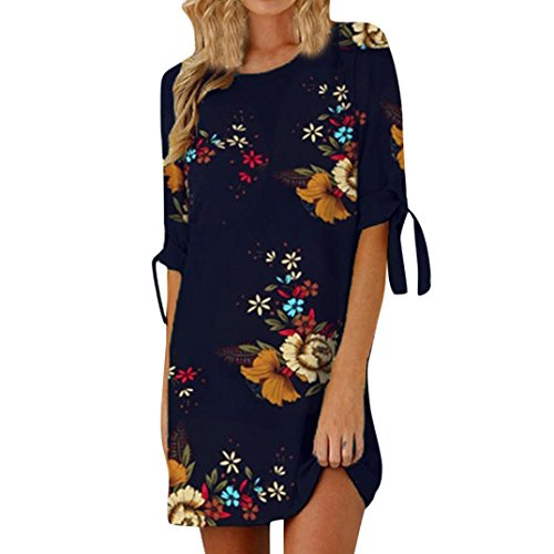 Hot Sale! WuyiMC Tunic Short Sleeve Mini Beach Dress, Womens Floral Print Bowknot Sleeves Cocktail Mini Dress Casual Party Dress (2 Dark Blue, L) -