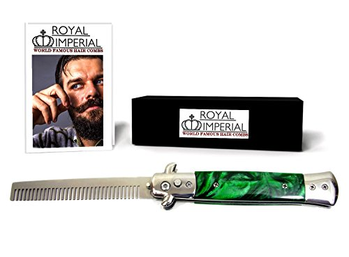 Royal Imperial Metal Switchblade Pocket Folding Flick Hair Comb For Beard, Mustache, Head GREEN MIST Handle ~ INCLUDES Beard Fact Wallet Book ~ Nicer Than Butterfly Knife (Horns Costume Wig)