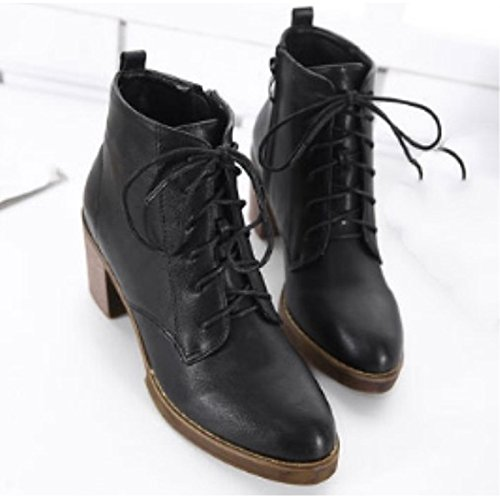 Boots Chunky Combat Heel ZHZNVX Black Booties Winter PU for Ankle Women's Shoes Casual HSXZ Round Boots Black Dark Toe Boots Brown qq8Bx6
