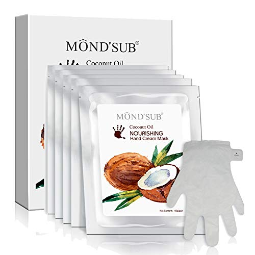 ([MOND'SUB] Best Hydrating Hand & Nail Mask - Healthy Coconut Oil Moisturizing Gloves for Dry Hands - Full With Organic Acids Hydrating & Nourishing Hand Mask Protecting Your Skins (5 pairs))