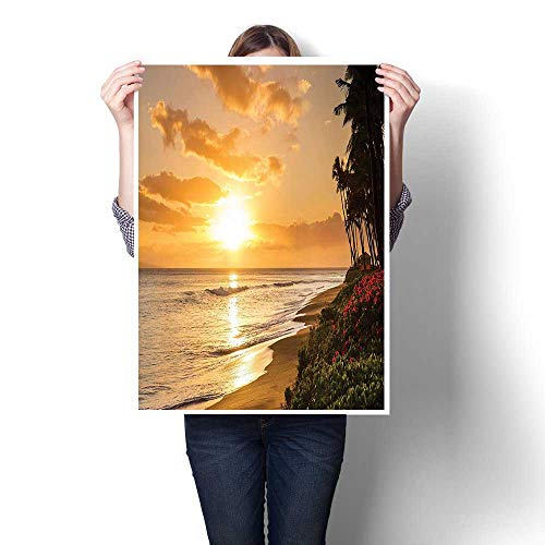 1 Piece Wall Art Painting,Warm Tropical Sunset On Sands of Kaanapali Beach in Maui Hawaii Destination for Oils,Prints On Canvas Landscape Pictures Oil for Home,16
