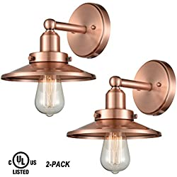 WILDSOUL 40011ACP-2 Industrial Vintage Wall Sconce Light with Bulbs, Antique Copper Finish Wall Lights, 2 Pack