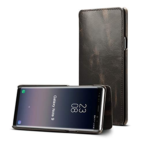 Galaxy Note 9 Case, Reginn Waxed Leather Wallet Case with [Card Slot] [Cash Pocket] and [Stand Function] [Wireless Charging Compatible] Folio Cover for Samsung Galaxy Note 9 (Black) by Reginn