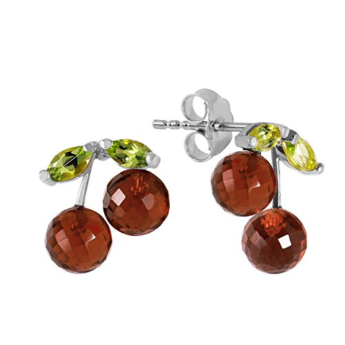 2.9 Carat 14k Solid White Gold Stud Earrings with Natural Peridots and Garnets
