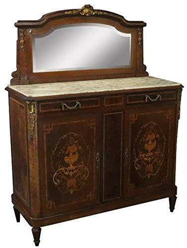 EuroLuxHome Server Sideboard Louis XVI French 1920 Gray White Marble Marquetry Mahogany ()