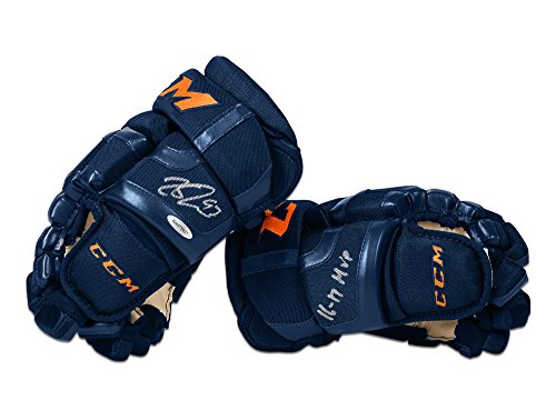 Connor McDavid Autographed & Inscribed CCM 2017 Navy Gloves