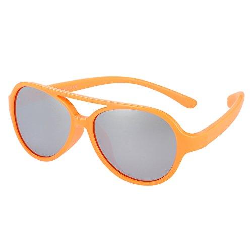 Kids Sunglasses Rubber Flexible Polarized Aviator Sunglasse For Children Age 3-10(ORANGE/SILVER) by Lalana