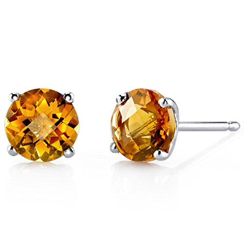 14 Karat White Gold Round Cut 1.75 Carats Citrine Stud (Brilliant Cut Citrine Earrings)