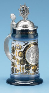 HISTORY OF THE U.S. NAVY STEIN - Created in Honor of the Soldiers of the U.S. Navy, Limited Edition, Made in Germany (Best Soldiers In History)