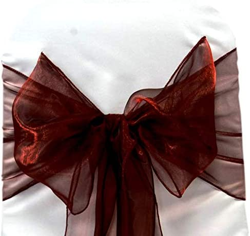 VDS - 250 PCS Elegant Organza Wedding Chair Sashes/Bows for Wedding Party Banquet Decor - Ribbon Tie Back Sash Bow – Burgundy