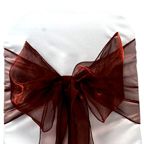 mds Pack of 50 Organza Chair sash Bow Sashes for Wedding and Events Supplies Party Decoration Chair Cover sash -Burgundy