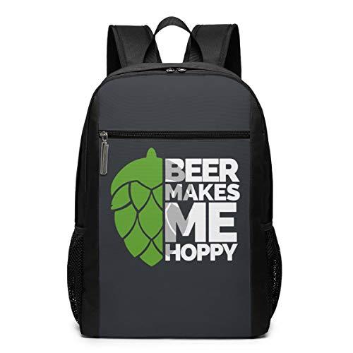 Beer Makes Me Hoppy Backpack 17 Inch Laptop Bags School Backpack ()