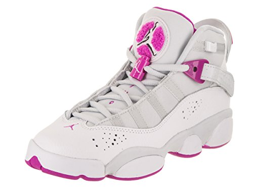 Jordan Nike Kids 6 Rings GG Pure Platinum/Fuchsia Blast Basketball Shoe 5 Kids US