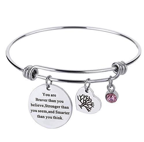Birthstone Inspirational Expandable Wire Bracelet Stainless Steel I Love You to The Moon and Back Charm Bangle Bracelet