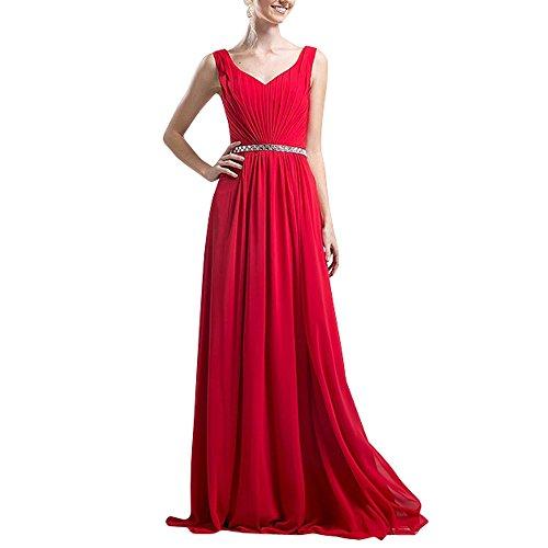 Cocktailkleider Elegant Rot Chiffon Chiffon Brau La Festlichkleider Abendkleider Brautjungfernkleider Ballkleider Partykleider mia wq8axBg