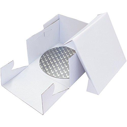 PME Round Cake Card/Board 10in & Square Cake Box 10in Set by PME