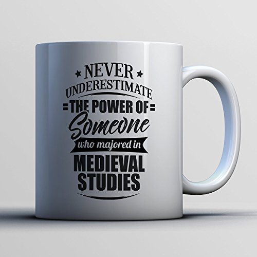 Renaissance Village Lady Costumes (Medieval Studies Coffee Mug - Never Underestimate Medieval Studies - Funny 11 oz White Ceramic Tea Cup - Humorous and Cute Medieval Studies Major Gifts with Medieval Studies Sayings)