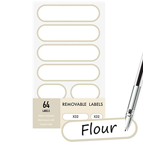 Removable Write-On Food Labels, Waterproof Kitchen Labels for POP Food Storage Containers and Home Organization, Pack of 64 …