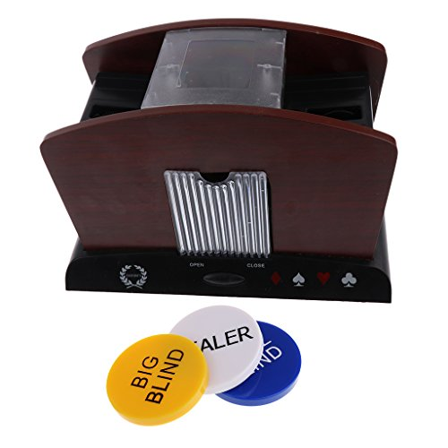 Baoblaze Casino 4 Deck Wood Automatic Card Shuffler Machine Poker Accessory+Dealer #2 by Baoblaze