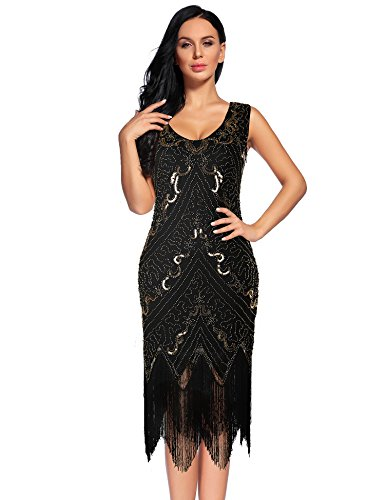 NeeMee Women's 1920s Gastby Sequin Embellished Fringed Flapper Dress (Black,M)]()