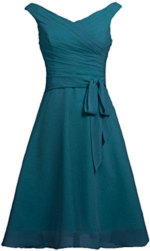 Réservoir En Mousseline De Soie De Fourmis Femmes V Cou Court Robes De Demoiselle D'honneur De Bal Avec Sarcelle Ceinture Bleue
