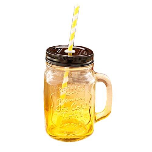 Phoenix Wonder Gradient Yellow Mug Creative Decor Artcraft Glass Drinkware Juice Milk School ()