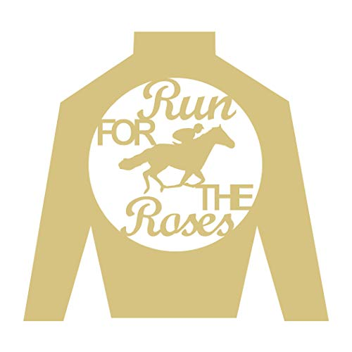 "Jockey Silk Run for The Roses Cutout Unfinished Wood Laser Cut Derby Horse Racing MDF Shaped Canvas Style 1 (24"")"