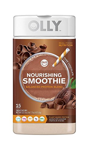 Olly Nourishing Smoothie Pure Chocolate Protein Powder 23.7 oz Jar Post Workout For Energy and Strength! Vegan, Gluten Free, Soy Free, Non GMO! Meal Replacement! Delicious!
